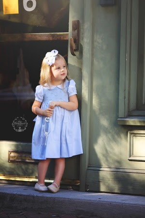 blue dress with smocking