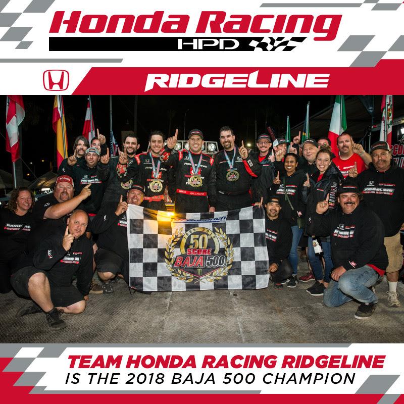 Team Honda Racing Ridgeline Is The 2018 Baja 500 Champion