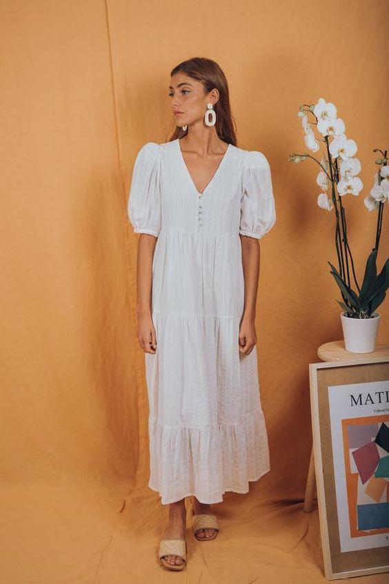Little Prairie Dress White