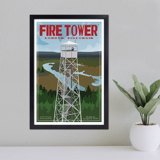 Jamey Penney-Ritter of Washburn designed this poster of the Gordon Fire Tower. Proceeds from the poster go help save the tower.