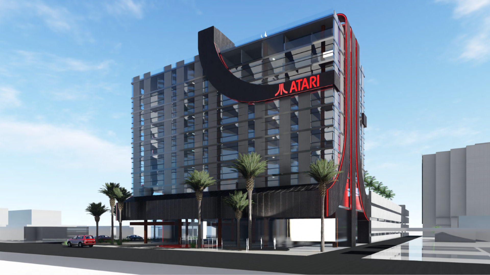 Architectural rendering of Atari hotel