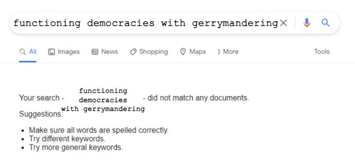 Meme of a google search about gerrymandering