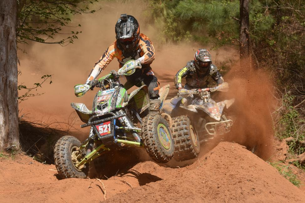 Adam McGill (left) and Walker Fowler (right) were wheel-to-wheel on the final lap Photo: Ken Hill