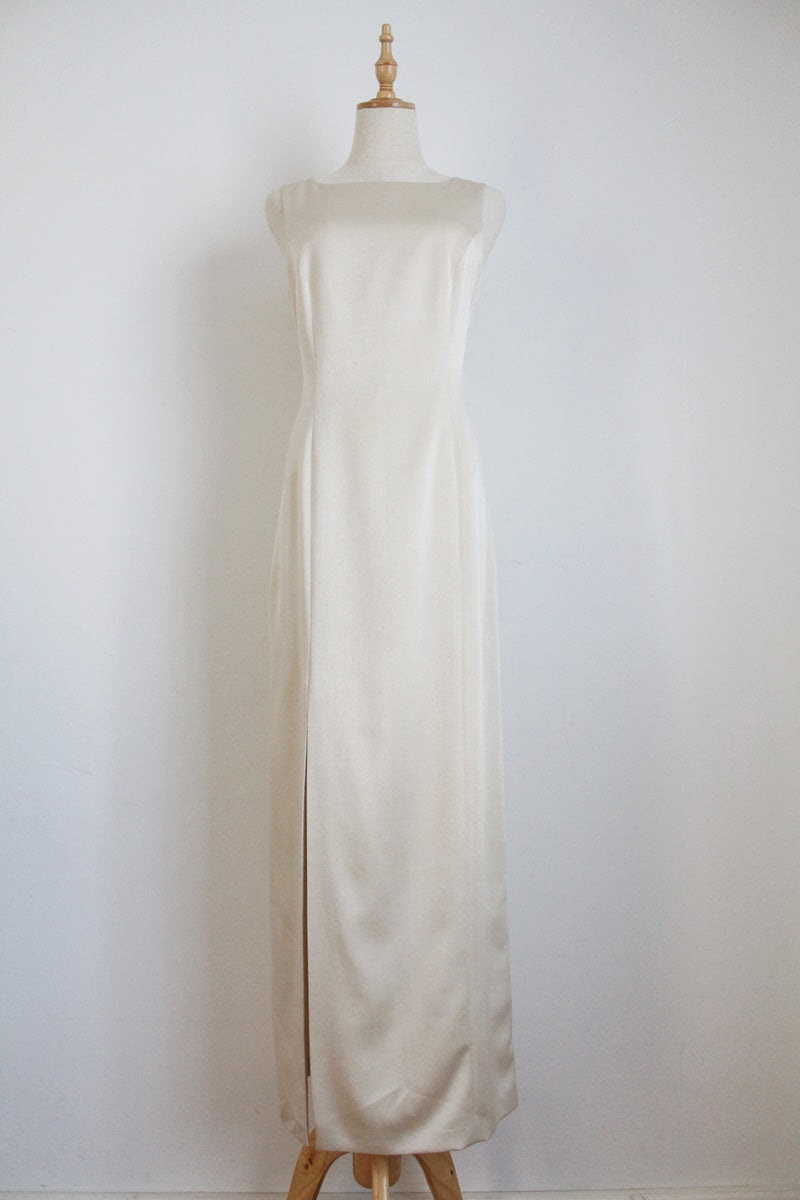 FRANK USHER DESIGNER VINTAGE SATIN SHIFT DRESS - SIZE 12