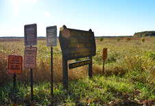 Carlos Avery WMA sign with no trespassing signs and a variety of other signs on a sunny day with green vegetation
