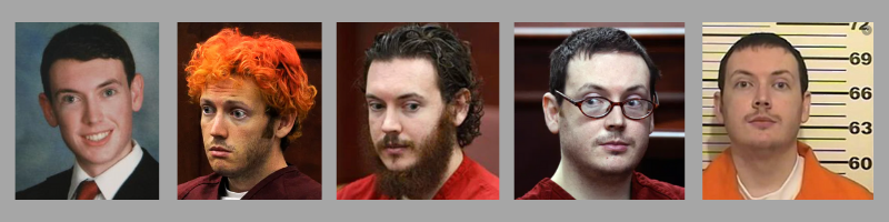 Different pictures of James Holmes. Notice how the picture may influence your perception.