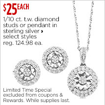 1/10 ct. t.w. diamond studs or pendant in sterling silver