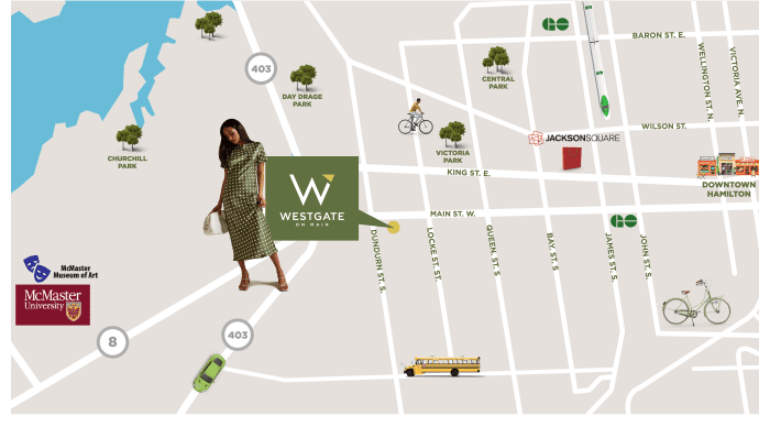 Walk, bike or take transit. Connect to the entire city and beyond. With a local transit stop right outside your door, a GO station around the corner, close to the future Dundurn LRT station, sidewalks, trails and more, running errands is easy at Westgate on Main. This is city living at its finest.