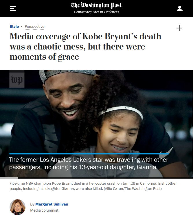 Washington Post: Media coverage of Kobe Bryant's death was a chaotic mess, but there were moments of grace