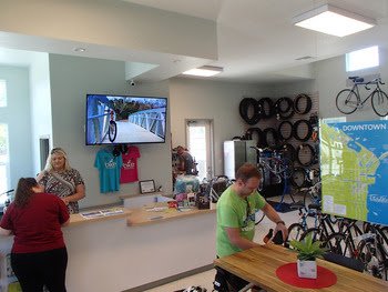 Titusville Welcome Center that includes a bike shop, by Doug Alderson