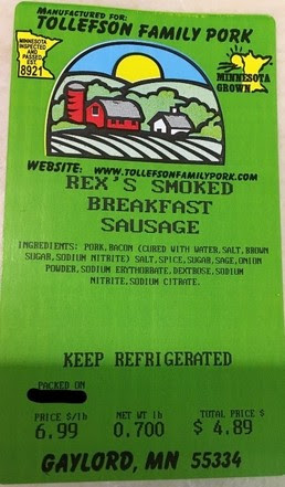 Rex's Smoked Breakfast Sausage Label