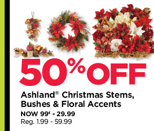 50% Off Ashland Christmas Stems, Bushes & Floral Accents