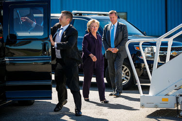 Hillary Clinton boarding her campaign plane Monday in White Plains for a trip to Michigan.