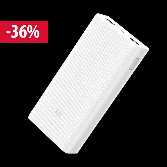 Black Friday - Xiaomi Mi Power Bank 2C 20000mAh vésztöltő, fehér (2xUSB, QuickCharge 3.0)