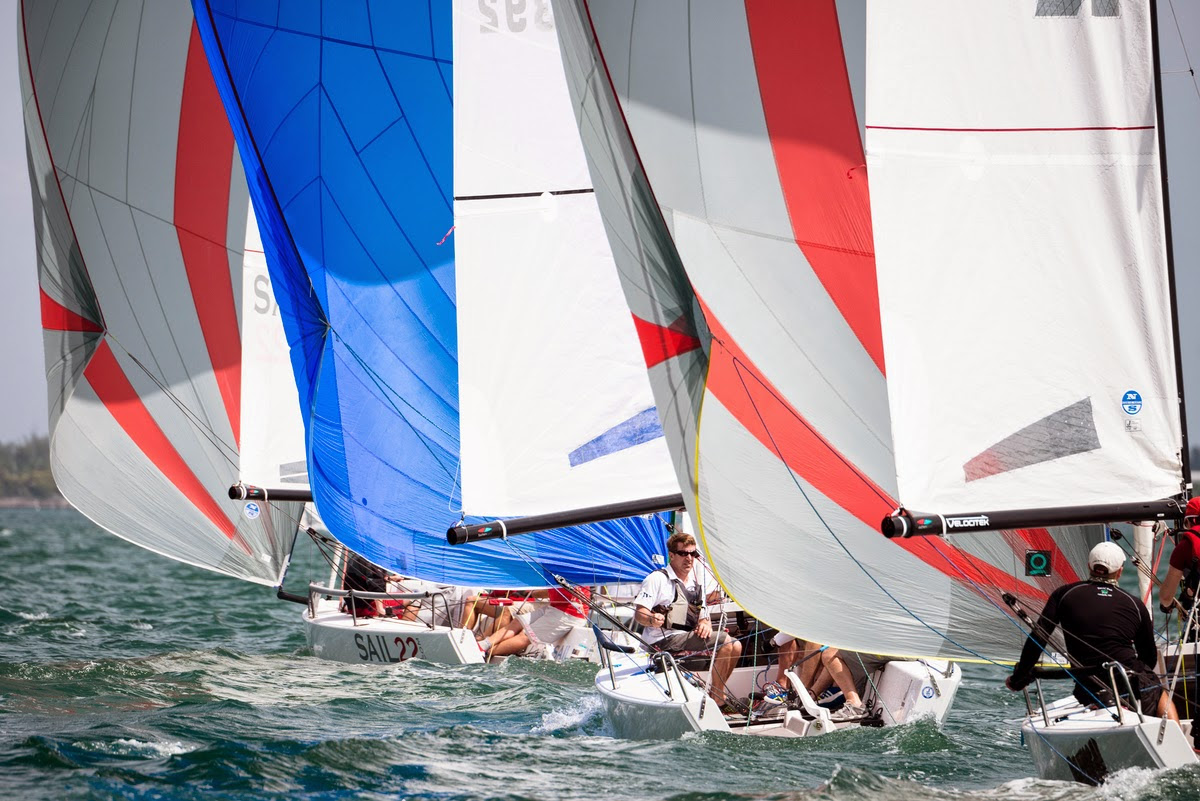J/70s sailing Bacardi Miami Sailing week event