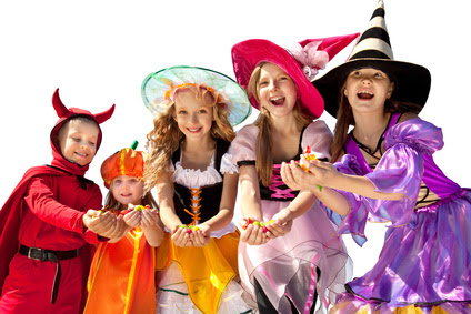 Five Halloween Children Holding Candies