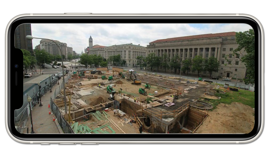 Live camera view of the WWI Memorial construction site