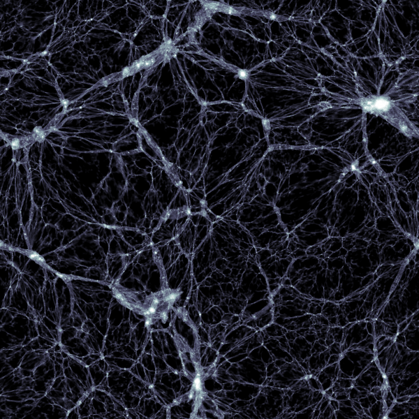 A slab cut from the cube generated by the Illustris simulation. It shows the distribution of dark matter, with a width and height of 350 million light-years and a thickness of 300,000 light-years. Galaxies are found in the small, white, high-density dots. Image credit: Markus Haider / Illustris collaboration