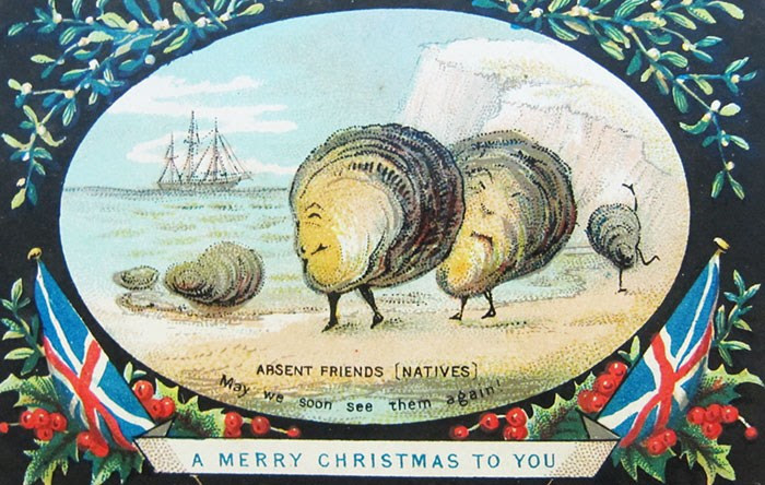 Tấm thiệp Giáng sinh có hình những con sò mặt người quái đản này được gửi về từ vùng đất thuộc địa xa xôi của Anh.