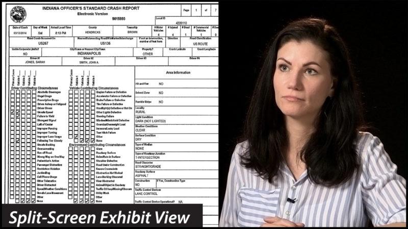 An example of a splitscreen exhibit during a video deposition