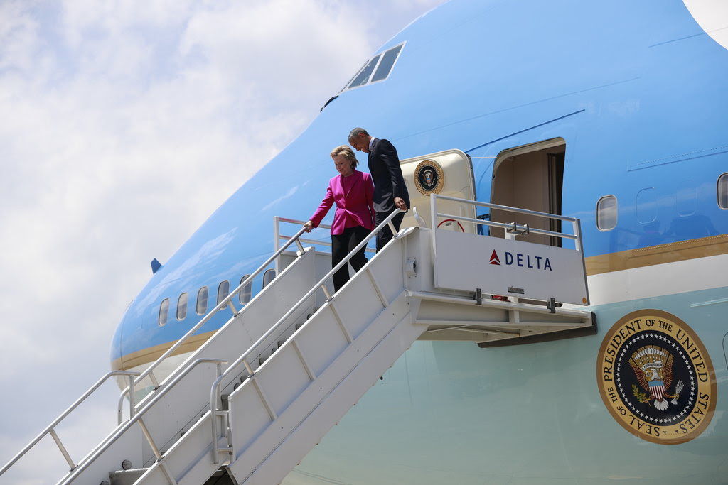 President Obama and Hillary Clinton arriving in Charlotte, N.C., for their first campaign event together.