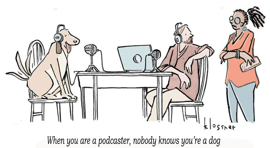 cartoon showing a dog as a podcaster