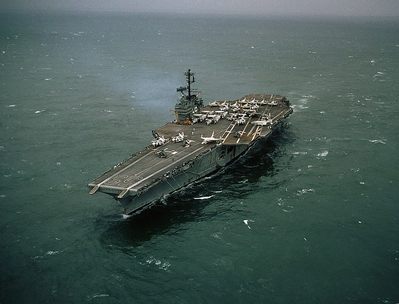 File:USS Forrestal about one month after 1967 fire.jpg