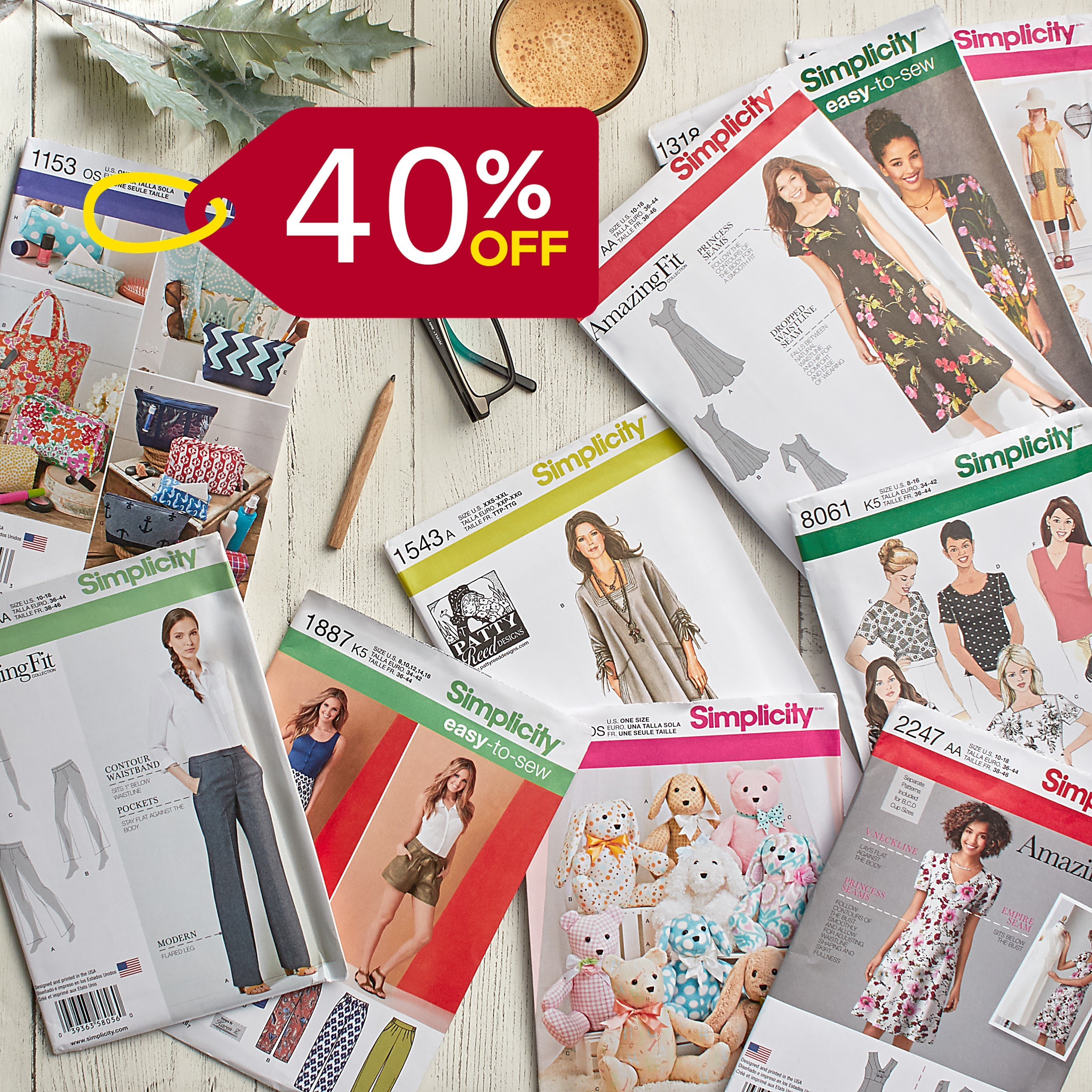 Save 40% off all Simplicity Patterns