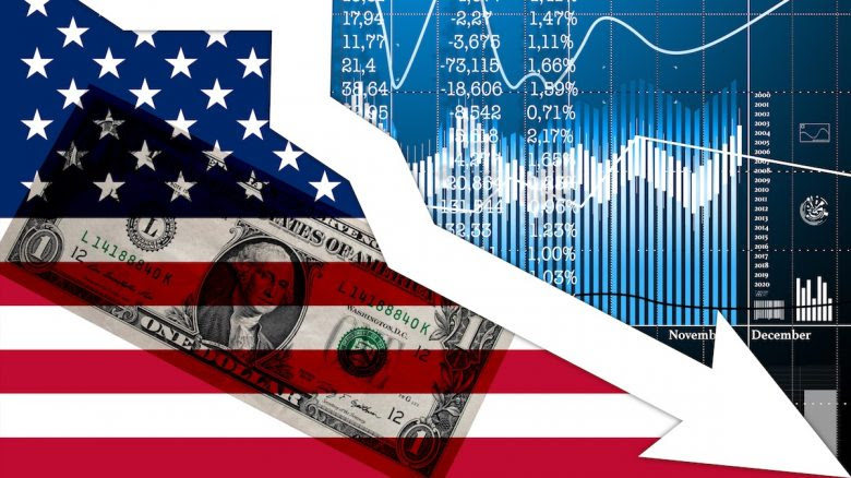 Picture of the US flag, a down slock trend line and some other ticker symbols