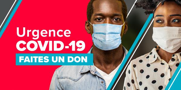 L'image représente un garçon et une fille portant un masque et dit : Urgence COVID-19. FAITES UN DON MAINTENANT.