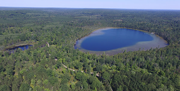 Aerial view of Walled Lake in Pigeon River Country State Forest
