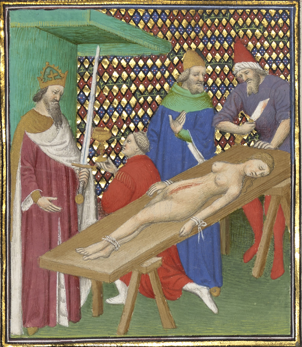 Nero Pauses for a Drink During the Mutilation of His Mother's Body, c. 1413. The J. Paul Getty Museum.