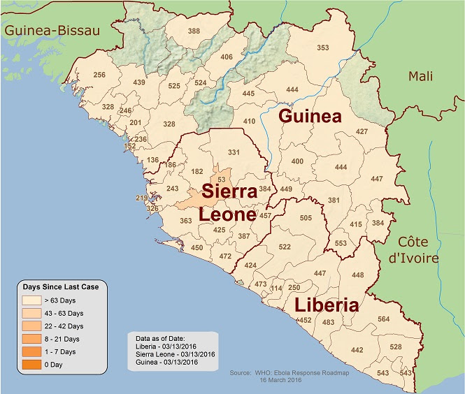Distribution map showing days since most recent cases of Ebola in West Africa