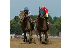 Elate (outside) and Abel Tasman (inside) slug it out in the Personal Ensign at Saratoga Race Course