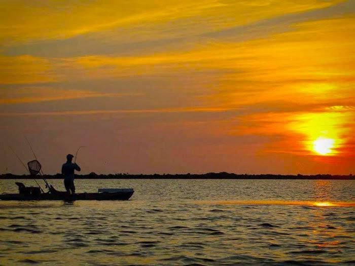 sunset kayak fishing