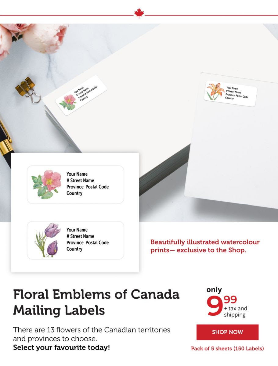 Floral Emblems of Canada Personalized Mailing Labels