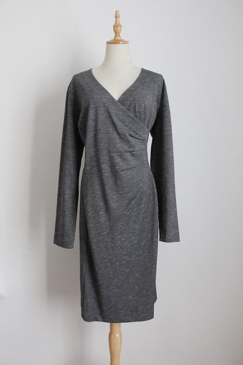 TRENERY GREY MELANGE RUCHED DRESS - SIZE 16