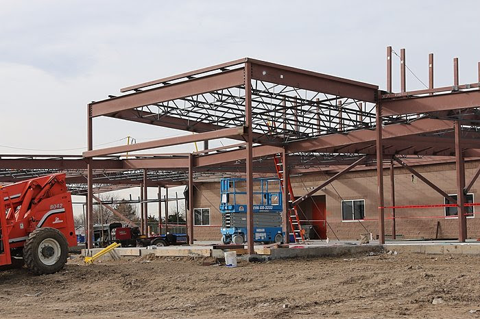 Construction of additional building space. Steel framework.