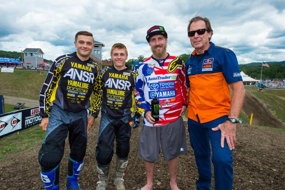 Team USA for the 2015 Motocross of Nations was announced with (left to right) Cooper Webb (MX3), Jeremy Martin (MX2) and Justin Barcia (MX1) and Team Manager Roger DeCoster.Photo: Simon Cudby