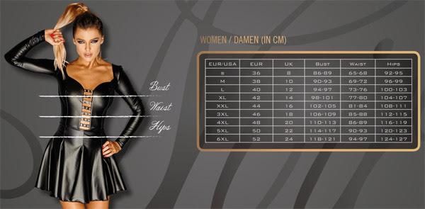 Guide des tailles lingerie Noir Handmade