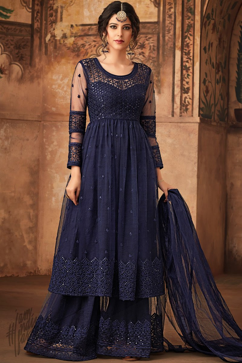 Ink Blue Net Party Wear Palazzo Suit