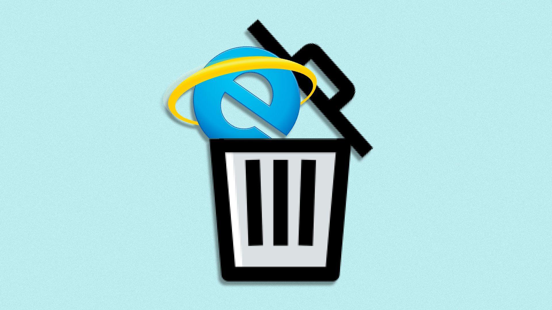 Illustration of the Internet Explorer logo in a trash icon